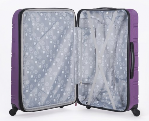 Rockland Melbourne purple suitcase open
